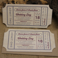 Printed Wooden Wedding Ticket Invitation