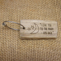 Engraved Driftwood Keyrings - I Love You to the Moon and Back