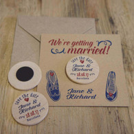 "Wooden ""Save the Date"" Fridge Magnets (min order 30) - Wedding Shoes"