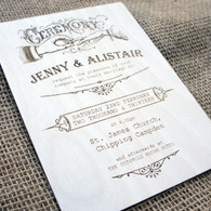 Sample of a wooden wedding invitation. Other designs available....