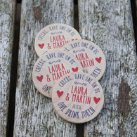 Wooden Wedding Printed Drinks Tokens - Hearts