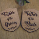 Engraved Wooden Wedding Party Badges - Father of the Groom, Father of the Bride