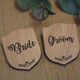 Engraved Wooden Wedding Party Badges - Bride, Groom