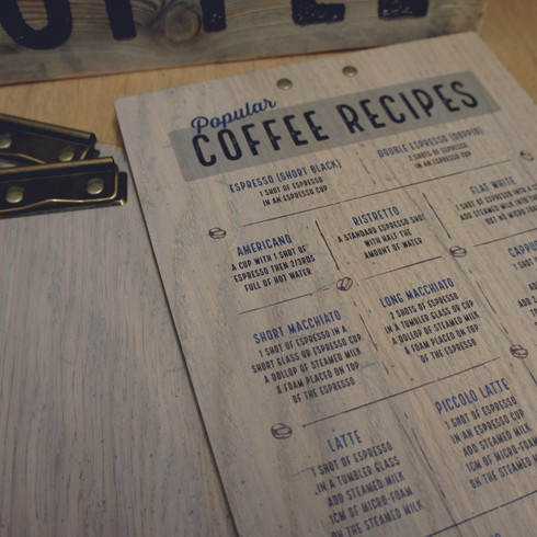 Wooden Printed Clipboard - Coffee Recipes