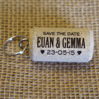 Cork Save the Date with Keyring attached
