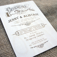 Wooden Wedding Invitation - Ceremony