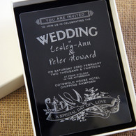 Clear Acrylic Wedding Invitation - Swallows shown in Ivory box