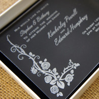 Clear Acrylic Wedding Invitation - Wildrose shown in Ivory box