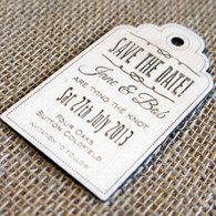 Wooden laser engraved Save the Date Luggage Tag - Style 02