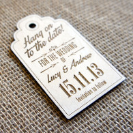 Wooden laser engraved Save the Date Luggage Tag - Style 03 with Ribbon