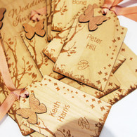 Wooden Wedding placename tags with cherry veneered wood - butterflies