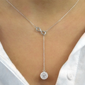 Infinity Y Swarovski Elements Necklace in Sterling Silver