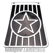 Lambretta 60s Style Italian BLACK & WHITE STAR LONG MUDFLAP Li/TV/SX/GP etc