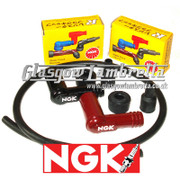 Lambretta Series 1,2 & 3 Genuine NGK SPARK PLUG SUPPRESSOR CAPS x 2 (Black/Red) + HT CABLE Li/TV/SX/GP
