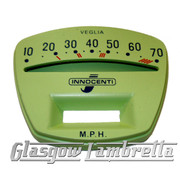 Lambretta Series 3 Li /TV GREEN SPEEDO / SPEEDOMETER FACE 70mph