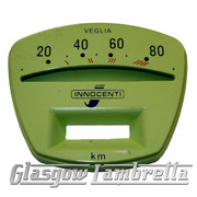 Lambretta Series 3 Li /TV GREEN SPEEDO / SPEEDOMETER FACE 80km/h