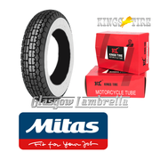 Mitas B13 350 x 8 Whitewall Single + INNER TUBE for Vespa Sportique, Super, VBB, Douglas
