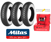Mitas B13 350 x 8 Whitewall + INNER TUBES Set of 3 for Vespa Sportique, Super, VBB, Douglas
