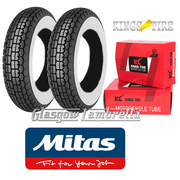 Mitas B13 Whitewall 350 x 8 Set of 2 + INNER TUBES for Vespa Sportique, Super, VBB, Douglas