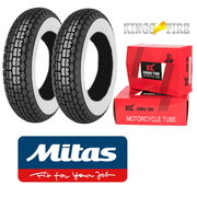 MITAS B13 400 x 8 Whitewall Set of 2 + INNER TUBES for Lambretta LD, D, LC etc