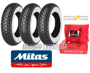 MITAS B13 400 x 8 Whitewall Set of 3 + INNER TUBES for Lambretta LD, D, LC etc