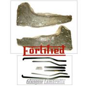FORTIFIED Lambretta Series 3 REAR RUNNER BOARDS + BLACK FLOOR STRIP KIT (Original Innocenti spec.) Li, TV, SX, Special