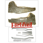 FORTIFIED Lambretta Series 3 REAR RUNNER BOARDS + GREY FLOOR STRIP KIT (Original Innocenti spec.) Li, TV, SX, Special