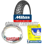 2 x MC20 350 x 10 + MICHELIN AIRSTOP TUBES Fitted to FORTIFIED Vespa / LML CHROME SPLIT WHEEL RIMS