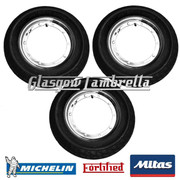 3 x MC20 350 x 10 + MICHELIN AIRSTOP TUBES Fitted to FORTIFIED Vespa / LML CHROME SPLIT WHEEL RIMS