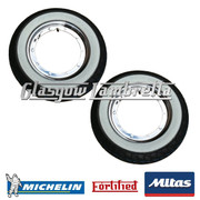 2 x MC20 WHITEWALL 350 x 10 + MICHELIN AIRSTOP TUBES Fitted to FORTIFIED Vespa / LML CHROME SPLIT WHEEL RIMS