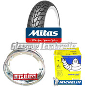 Single MC20 WHITEWALL 350 x 10 + MICHELIN AIRSTOP TUBE Fitted to FORTIFIED Vespa / LML CHROME SPLIT WHEEL RIM