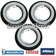 3 x MC20 WHITEWALL 350 x 10 + MICHELIN AIRSTOP TUBES Fitted to FORTIFIED Vespa / LML CHROME SPLIT WHEEL RIMS