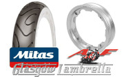 Set of 2 x MC18 Whitewall 350 x 10 Tyres Fitted to AF Lambretta Tubeless Rims