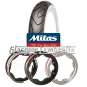 Set of 2 x  MC18 Whitewall 350 x 10 Tyres Fitted to S.I.P. Lambretta Tubeless Rims