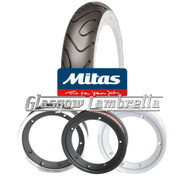 Set of 2 x MC18 Whitewall 350 x 10 Tyres Fitted to S.I.P. Vespa Tubeless Rims