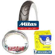 2 x MC18 WHITEWALL 350 x 10 + MICHELIN AIRSTOP TUBES Fitted to FORTIFIED Vespa / LML CHROME SPLIT WHEEL RIMS