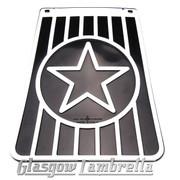 Scomadi / Royalloy 60s Style Italian BLACK & WHITE STAR LONG MUDFLAP