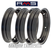 "Set of 3 x RMS PX and all 10"" wheeled Vespa Italian BLACK SPLIT WHEEL RIMS"