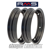 "Set of 2 x RMS PX and all 10"" wheeled Vespa Italian BLACK SPLIT WHEEL RIMS"