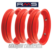 "Set of 3 x RMS PX and all 10"" wheeled Vespa Italian RED SPLIT WHEEL RIMS"