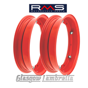 "Set of 2 x RMS PX and all 10"" wheeled Vespa Italian RED SPLIT WHEEL RIMS"