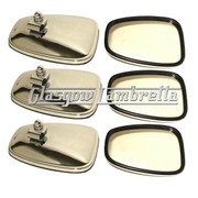 Set of 6 x Universal CHROME STADIUM STYLE RECTANGULAR SCOOTER MIRROR HEADS