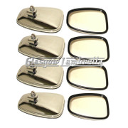 Set of 8 x Universal CHROME STADIUM STYLE RECTANGULAR SCOOTER MIRROR HEADS
