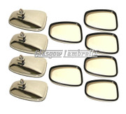 Set of 10 x Universal CHROME STADIUM STYLE RECTANGULAR SCOOTER MIRROR HEADS