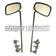 Set of 2 x UNIVERSAL CHROME RECTANGULAR SCOOTER MIRROR HEADS + STEMS + W CLAMPS