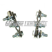 Set of 2 x UNIVERSAL CHROME W CLAMPS for Mirror Stems etc