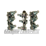 Set of 3 x UNIVERSAL CHROME W CLAMPS for Mirror Stems etc