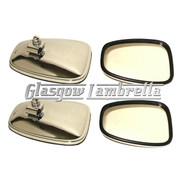 Set of 4 x Universal CHROME STADIUM STYLE RECTANGULAR SCOOTER MIRROR HEADS