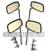 Set of 4 x UNIVERSAL CHROME RECTANGULAR SCOOTER MIRROR HEADS + STEMS + W CLAMPS