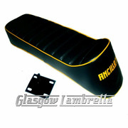 Lambretta Repro/Copy ANCILLOTTI SLOPE BACK / RACING SEAT in BLACK & YELLOW + CATCH  for Series 1, 2 3 & GP
